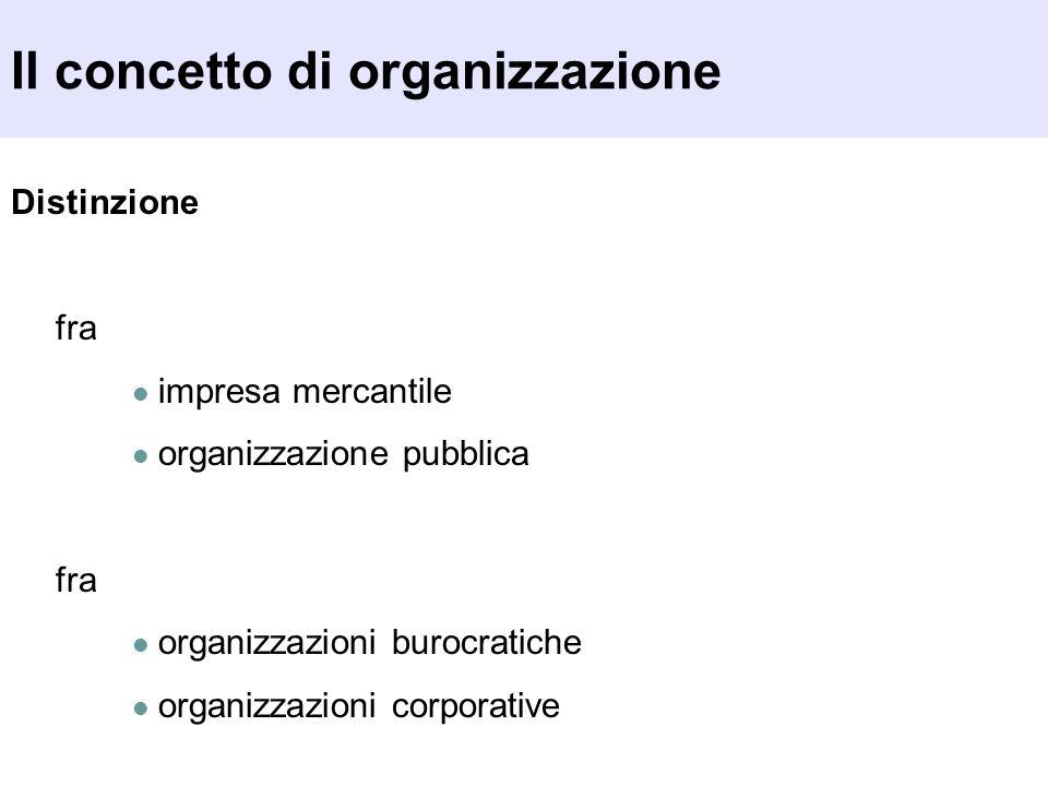 Il concetto di organizzazione Distinzione fra impresa mercantile organizzazione pubblica fra organizzazioni burocratiche organizzazioni corporative