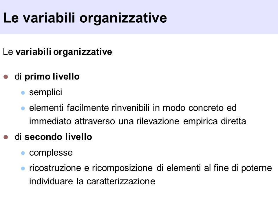 Le variabili organizzative di primo livello semplici elementi facilmente rinvenibili in modo concreto ed immediato attraverso una rilevazione empirica