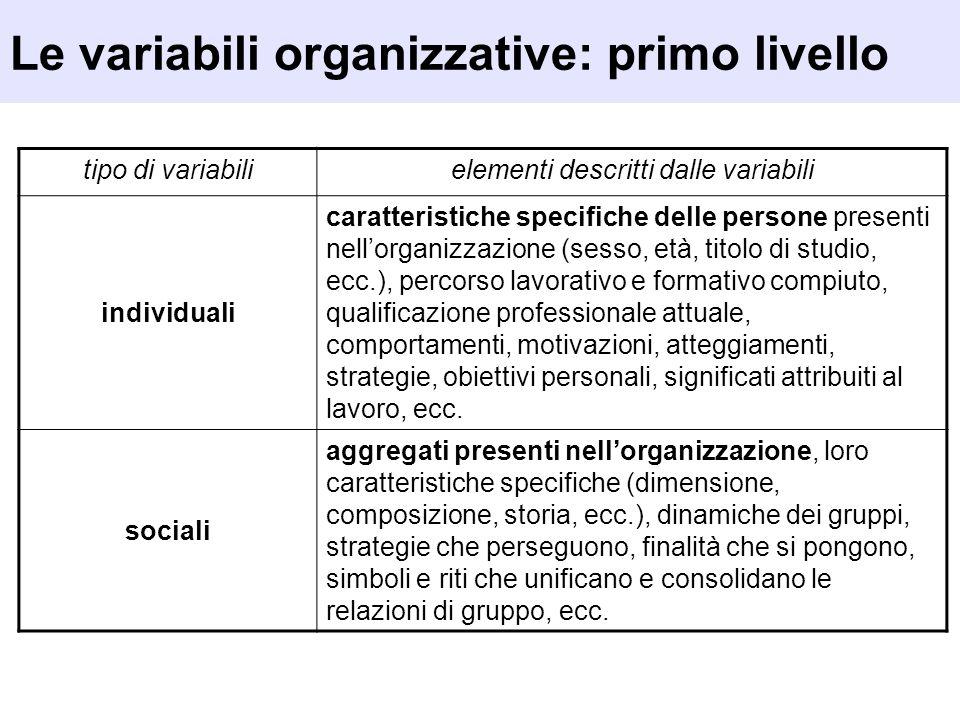 Le variabili organizzative: primo livello tipo di variabilielementi descritti dalle variabili individuali caratteristiche specifiche delle persone pre