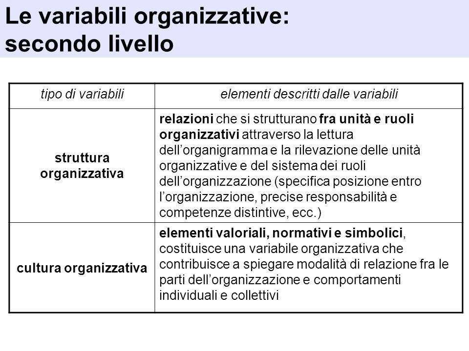 tipo di variabilielementi descritti dalle variabili struttura organizzativa relazioni che si strutturano fra unità e ruoli organizzativi attraverso la