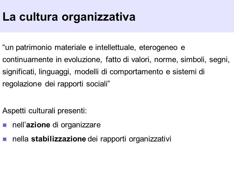 La cultura organizzativa un patrimonio materiale e intellettuale, eterogeneo e continuamente in evoluzione, fatto di valori, norme, simboli, segni, si