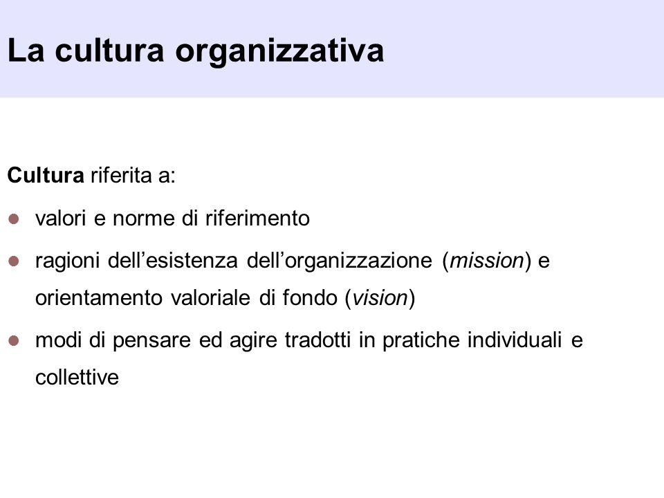 La cultura organizzativa Cultura riferita a: valori e norme di riferimento ragioni dellesistenza dellorganizzazione (mission) e orientamento valoriale