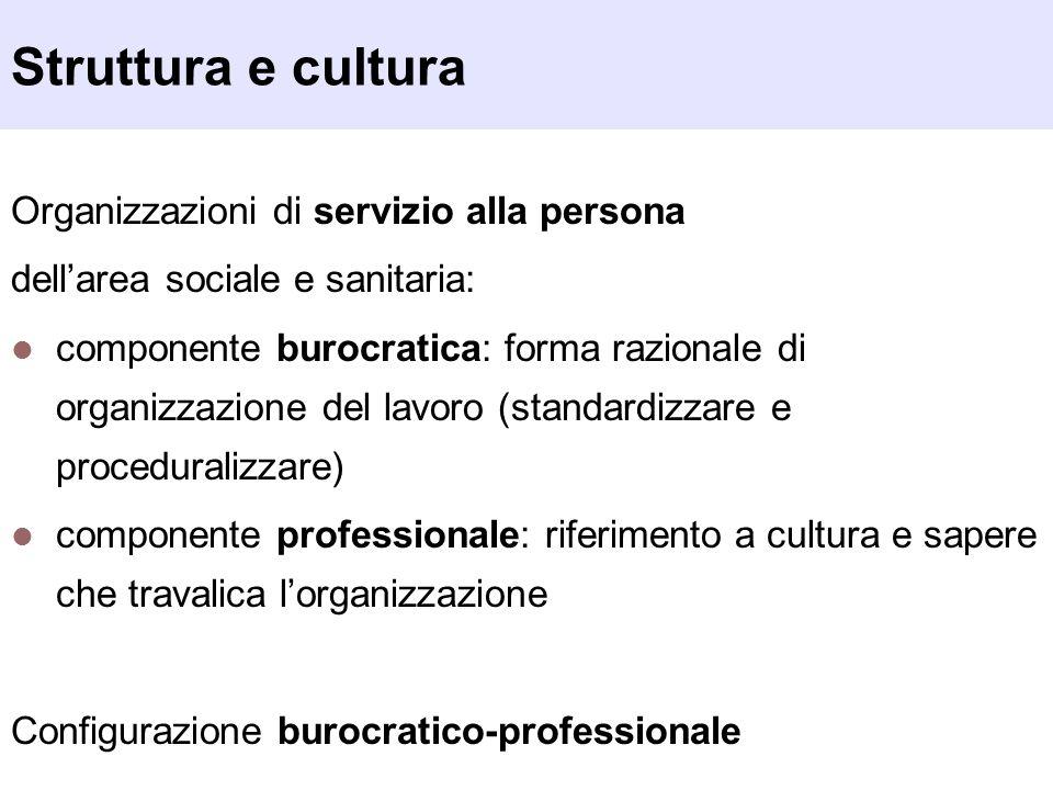 Struttura e cultura Organizzazioni di servizio alla persona dellarea sociale e sanitaria: componente burocratica: forma razionale di organizzazione de
