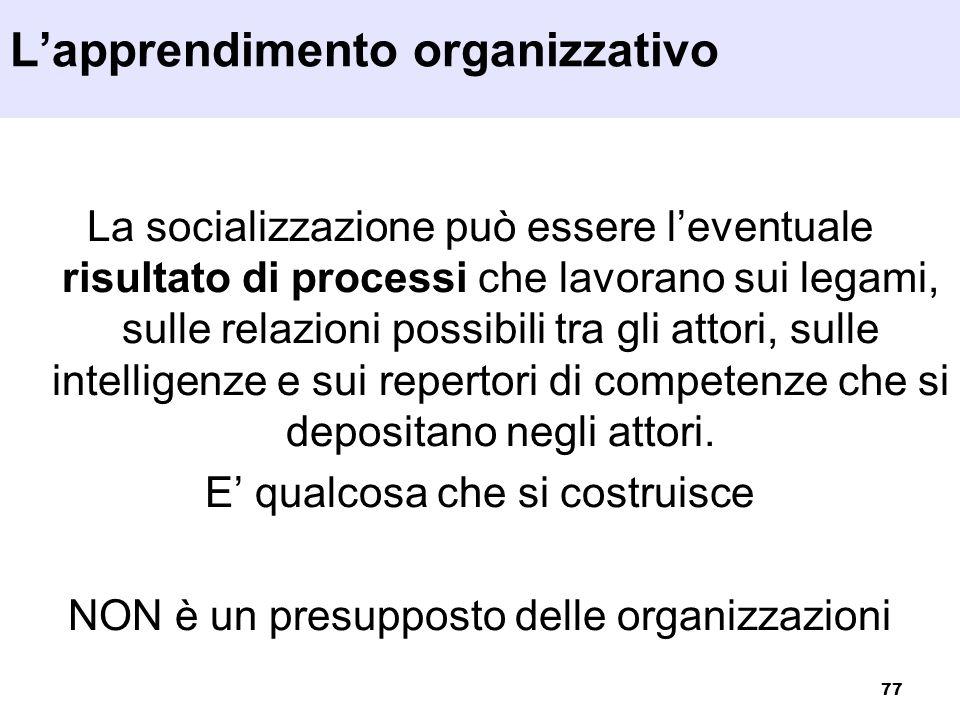 77 La socializzazione può essere leventuale risultato di processi che lavorano sui legami, sulle relazioni possibili tra gli attori, sulle intelligenz