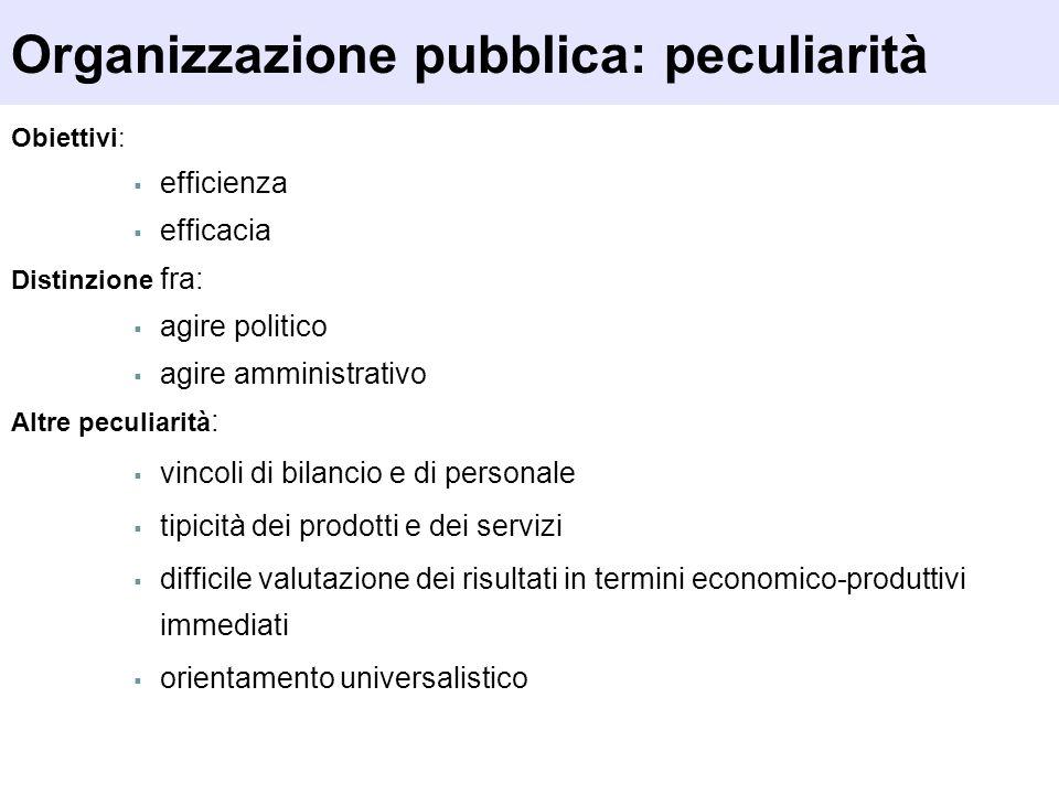 Obiettivi: efficienza efficacia Distinzione fra: agire politico agire amministrativo Altre peculiarità : vincoli di bilancio e di personale tipicità d