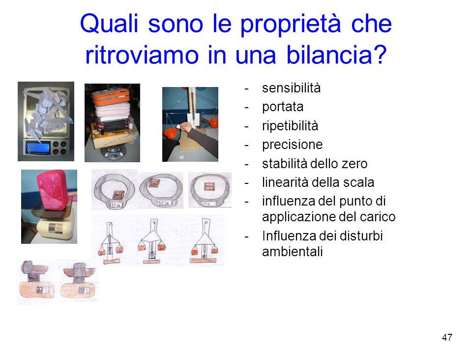 Quali sono le proprietà che ritroviamo in una bilancia?. -sensibilità -portata -ripetibilità -precisione -stabilità dello zero -linearità della scala