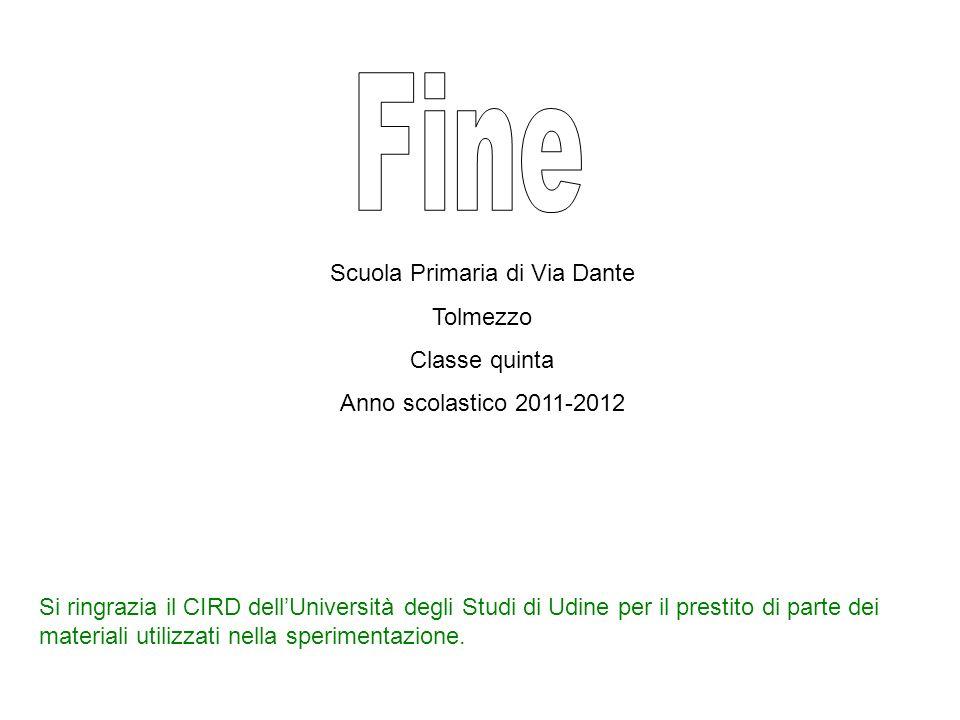 Scuola Primaria di Via Dante Tolmezzo Classe quinta Anno scolastico 2011-2012 Si ringrazia il CIRD dellUniversità degli Studi di Udine per il prestito