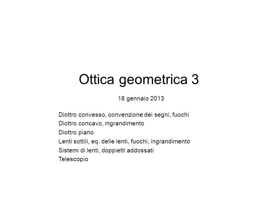 Ottica geometrica 3 18 gennaio 2013 Diottro convesso, convenzione dei segni, fuochi Diottro concavo, ingrandimento Diottro piano Lenti sottili, eq.