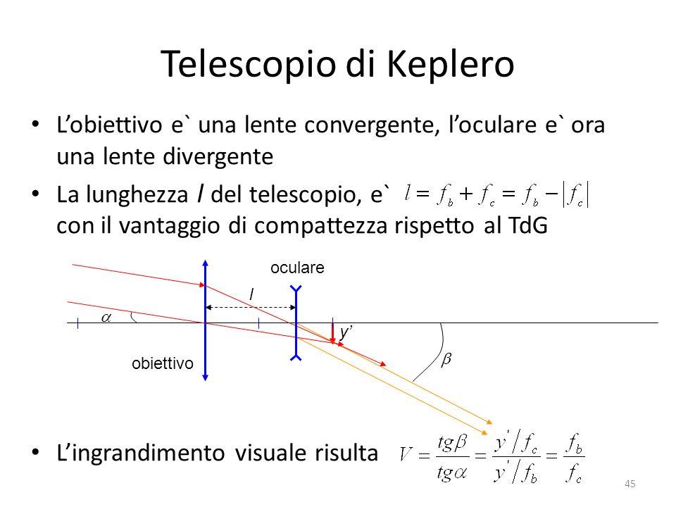 Telescopio di Keplero Lobiettivo e` una lente convergente, loculare e` ora una lente divergente La lunghezza l del telescopio, e` con il vantaggio di compattezza rispetto al TdG Lingrandimento visuale risulta obiettivo oculare l y 45