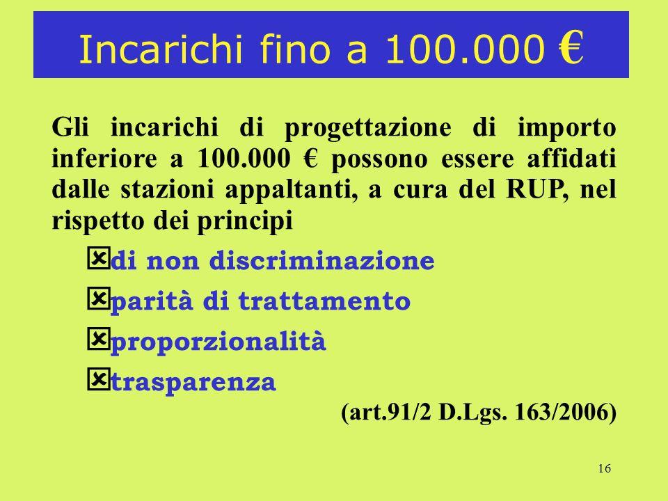 16 Incarichi fino a 100.000 Gli incarichi di progettazione di importo inferiore a 100.000 possono essere affidati dalle stazioni appaltanti, a cura de