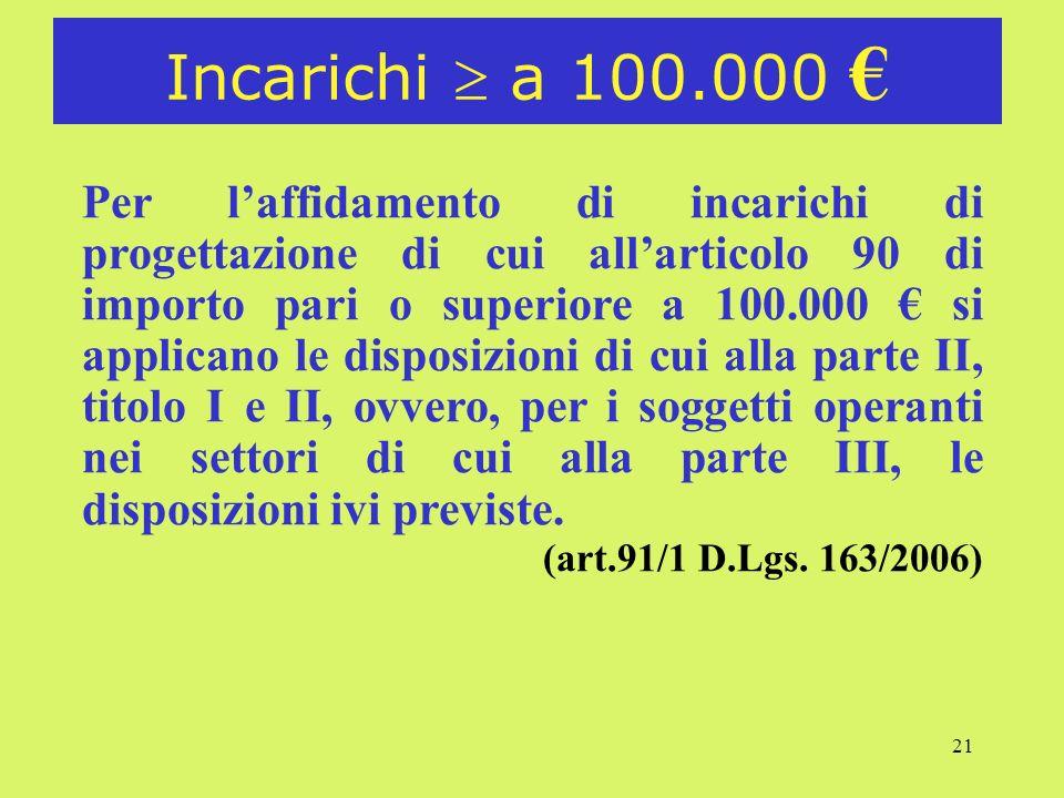 21 Incarichi a 100.000 Per laffidamento di incarichi di progettazione di cui allarticolo 90 di importo pari o superiore a 100.000 si applicano le disp