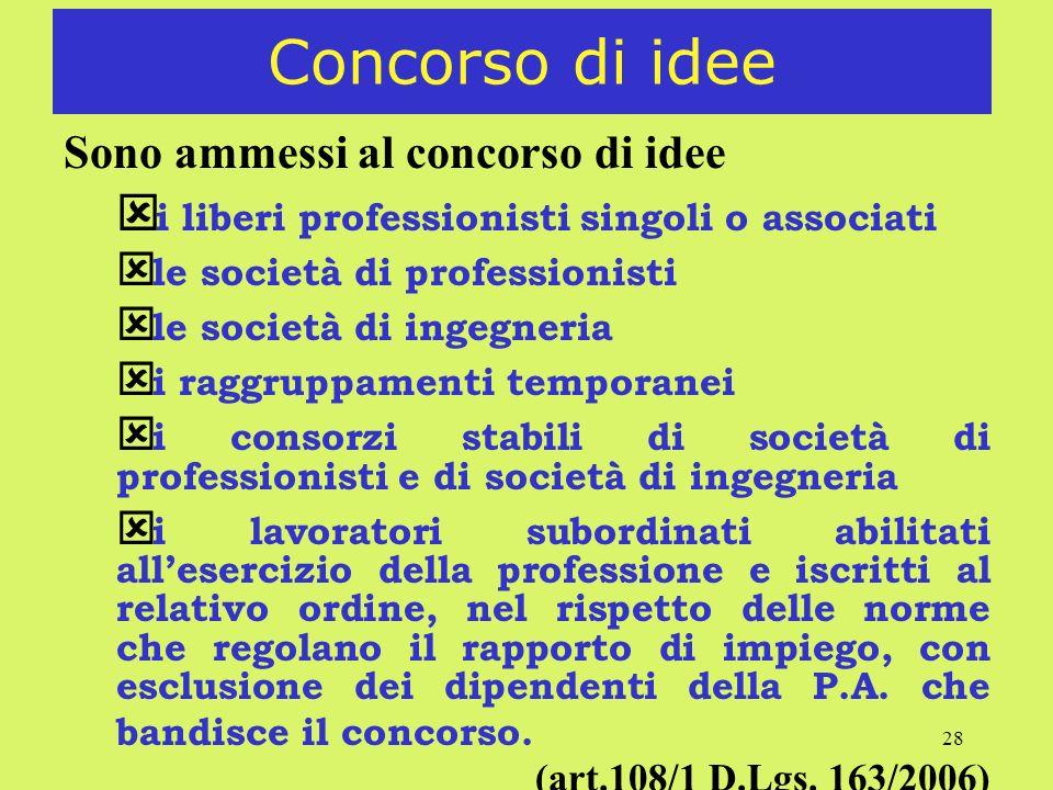 28 Concorso di idee Sono ammessi al concorso di idee ý i liberi professionisti singoli o associati ý le società di professionisti ý le società di inge