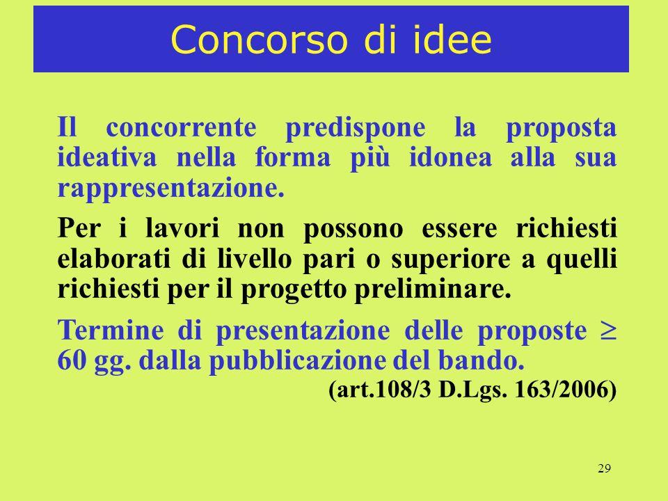 29 Concorso di idee Il concorrente predispone la proposta ideativa nella forma più idonea alla sua rappresentazione. Per i lavori non possono essere r