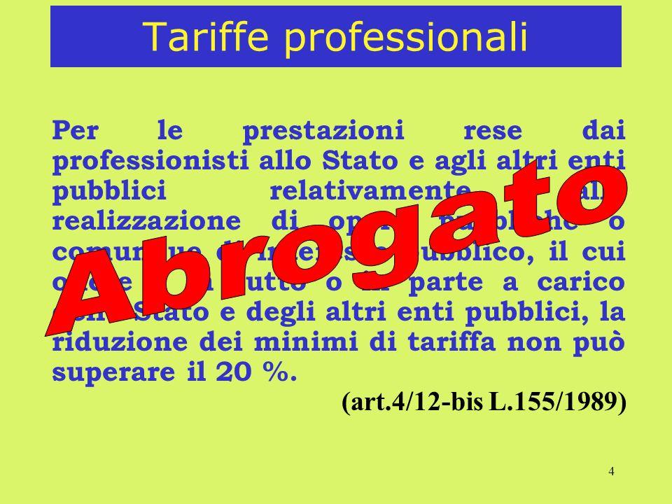 4 Tariffe professionali Per le prestazioni rese dai professionisti allo Stato e agli altri enti pubblici relativamente alla realizzazione di opere pub