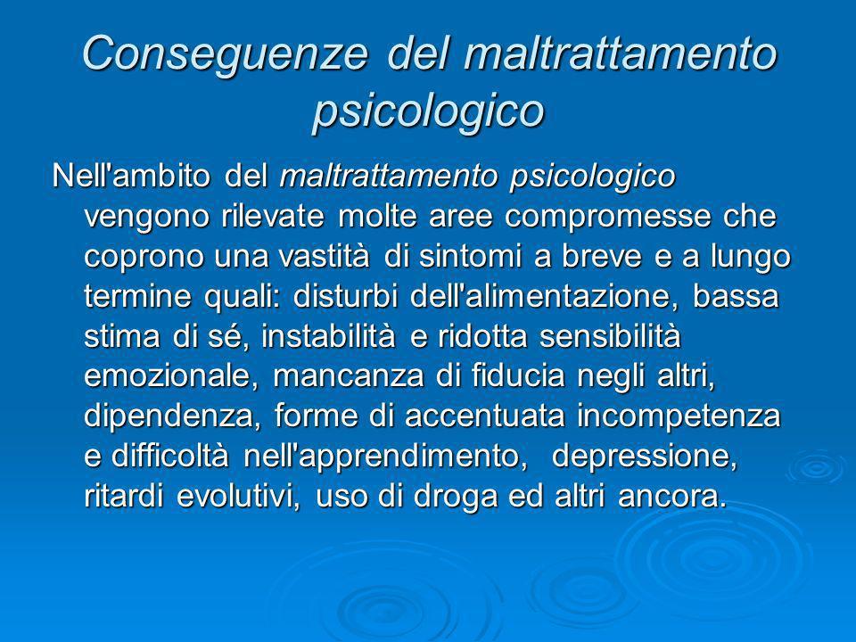 Conseguenze del maltrattamento psicologico Nell'ambito del maltrattamento psicologico vengono rilevate molte aree compromesse che coprono una vastità