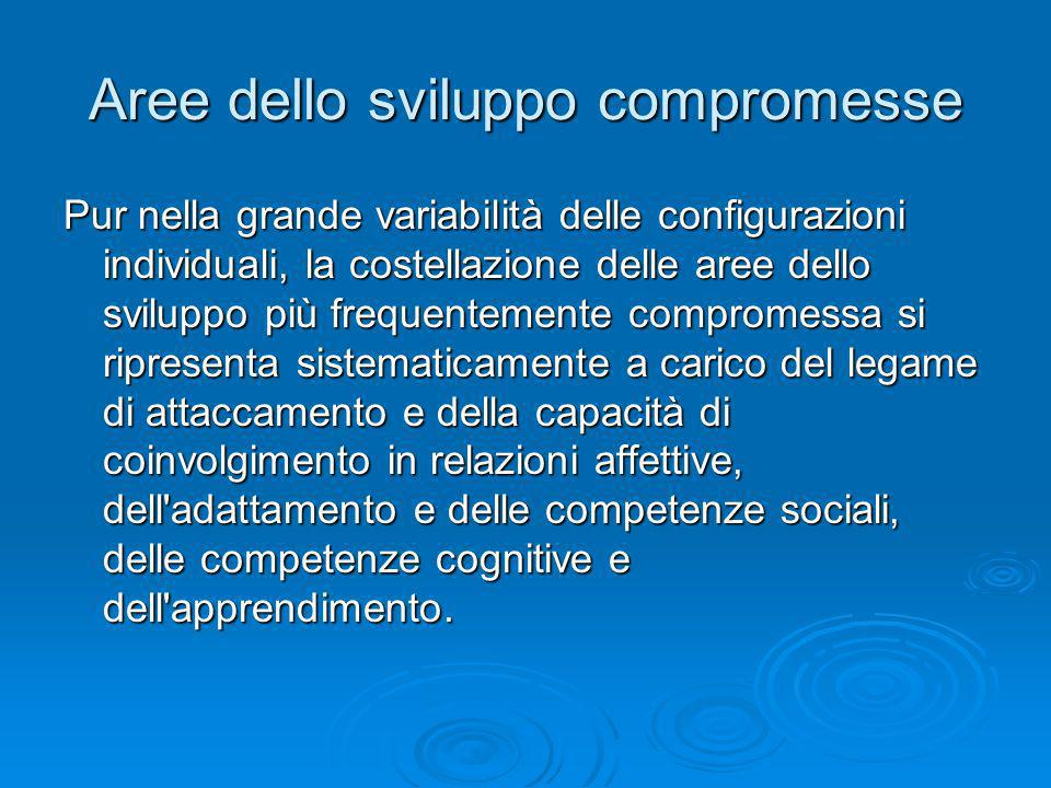 Aree dello sviluppo compromesse Pur nella grande variabilità delle configurazioni individuali, la costellazione delle aree dello sviluppo più frequent