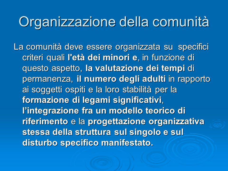 Organizzazione della comunità La comunità deve essere organizzata su specifici criteri quali l'età dei minori e, in funzione di questo aspetto, la val