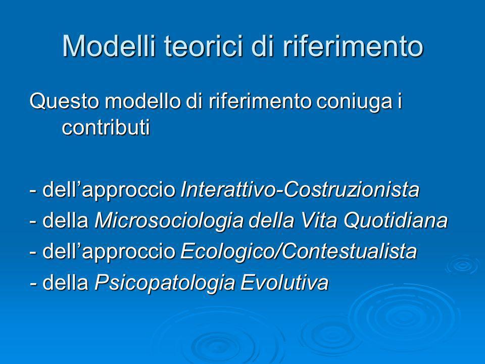 Modelli teorici di riferimento Questo modello di riferimento coniuga i contributi - dellapproccio Interattivo-Costruzionista - della Microsociologia d