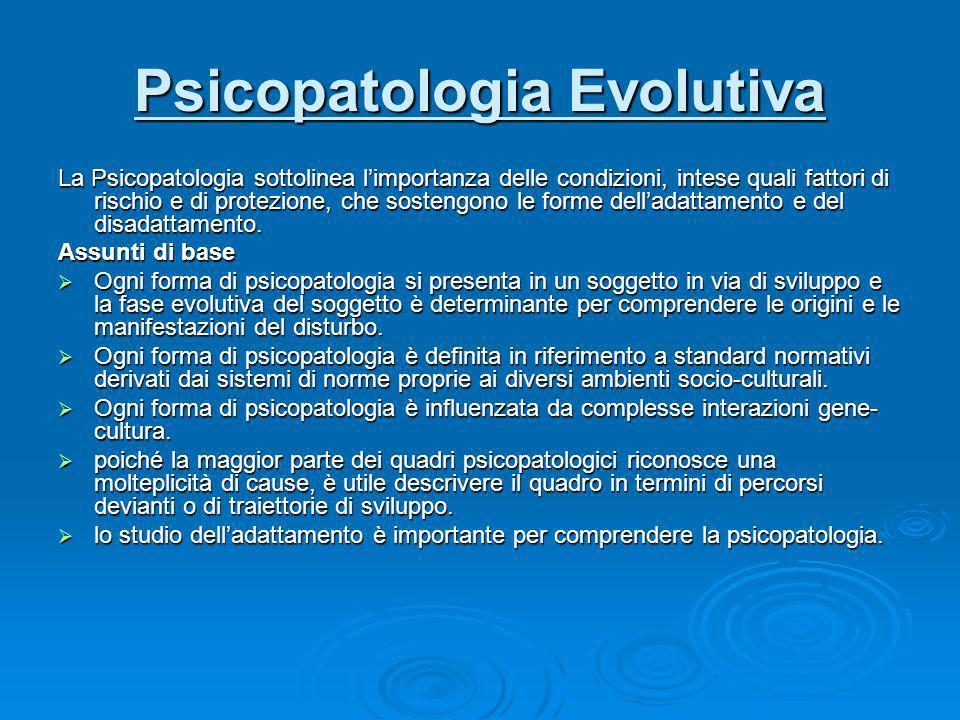 Psicopatologia Evolutiva La Psicopatologia sottolinea limportanza delle condizioni, intese quali fattori di rischio e di protezione, che sostengono le