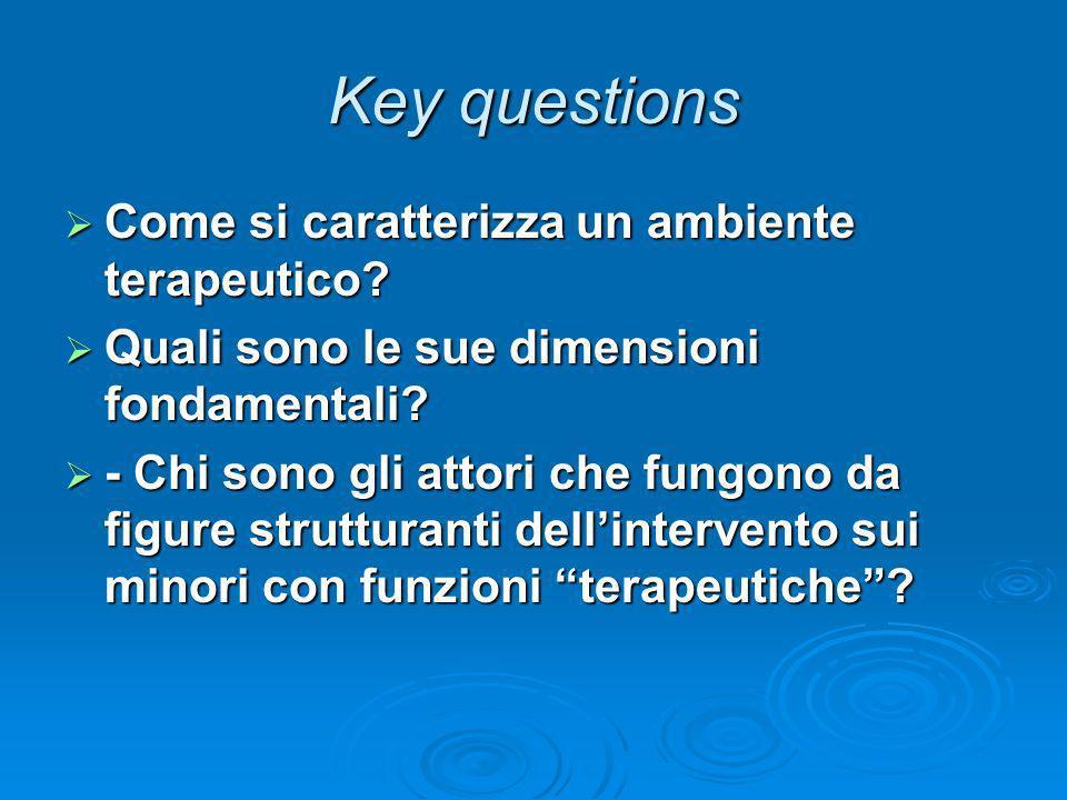 Key questions Come si caratterizza un ambiente terapeutico? Come si caratterizza un ambiente terapeutico? Quali sono le sue dimensioni fondamentali? Q