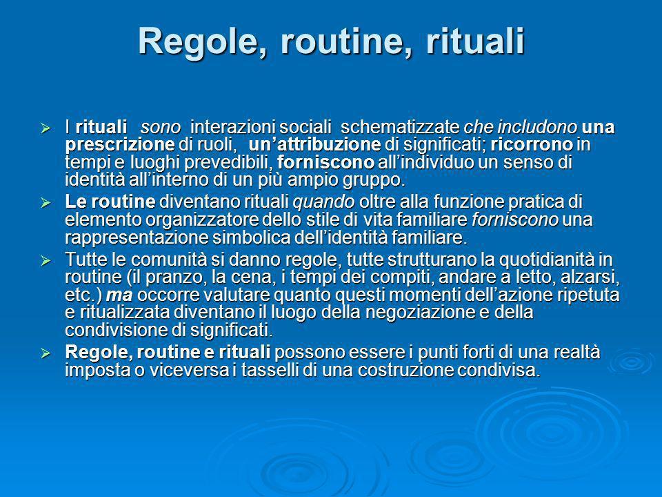 Regole, routine, rituali I rituali sono interazioni sociali schematizzate che includono una prescrizione di ruoli, unattribuzione di significati; rico
