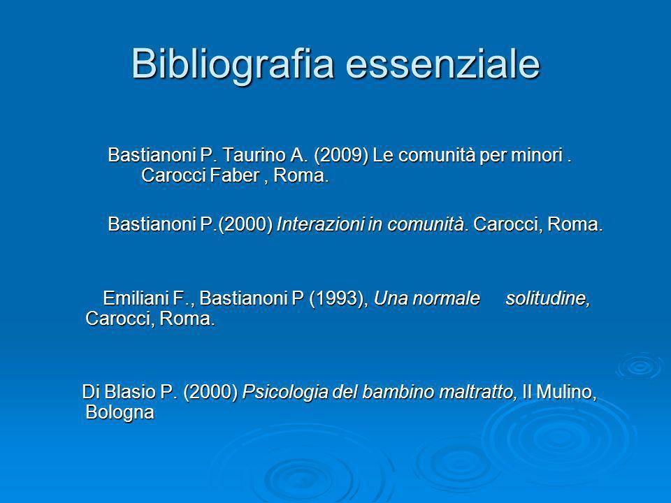 Bibliografia essenziale Bastianoni P. Taurino A. (2009) Le comunità per minori. Carocci Faber, Roma. Bastianoni P.(2000) Interazioni in comunità. Caro