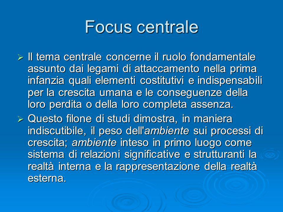 Focus centrale Il tema centrale concerne il ruolo fondamentale assunto dai legami di attaccamento nella prima infanzia quali elementi costitutivi e in
