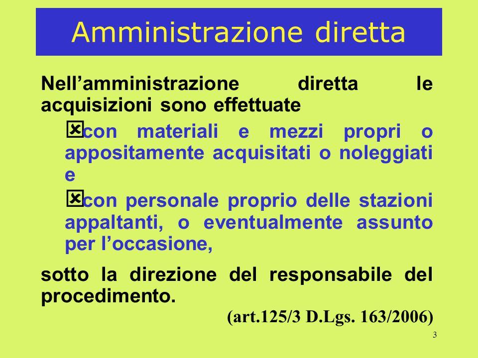 3 Amministrazione diretta Nellamministrazione diretta le acquisizioni sono effettuate ý con materiali e mezzi propri o appositamente acquisitati o nol
