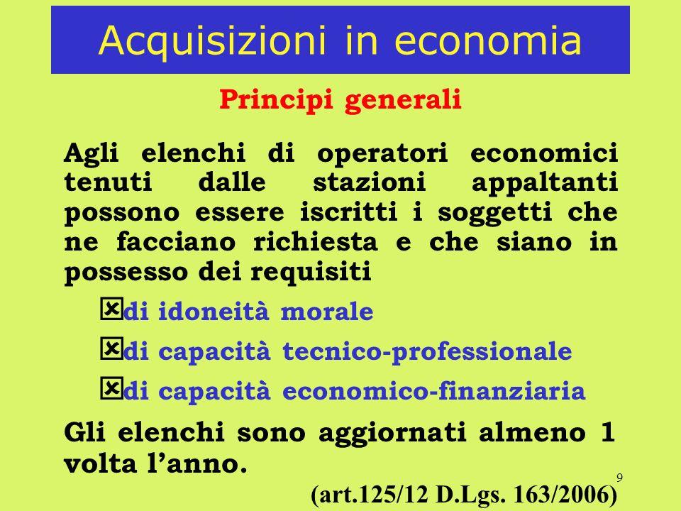 9 Acquisizioni in economia Principi generali Agli elenchi di operatori economici tenuti dalle stazioni appaltanti possono essere iscritti i soggetti c