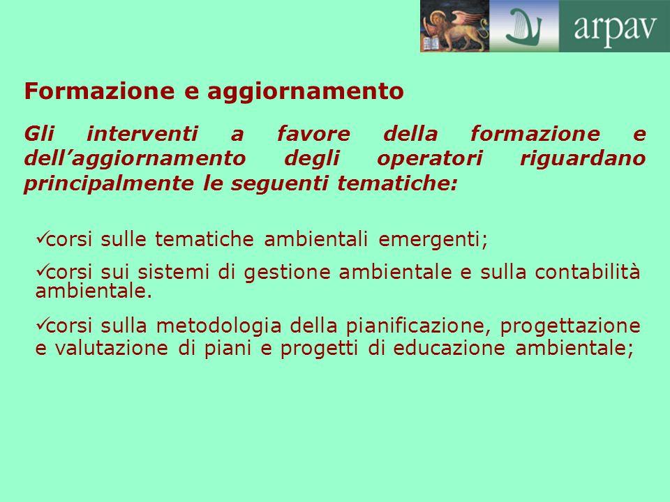 Formazione e aggiornamento corsi sulle tematiche ambientali emergenti; corsi sui sistemi di gestione ambientale e sulla contabilità ambientale. corsi