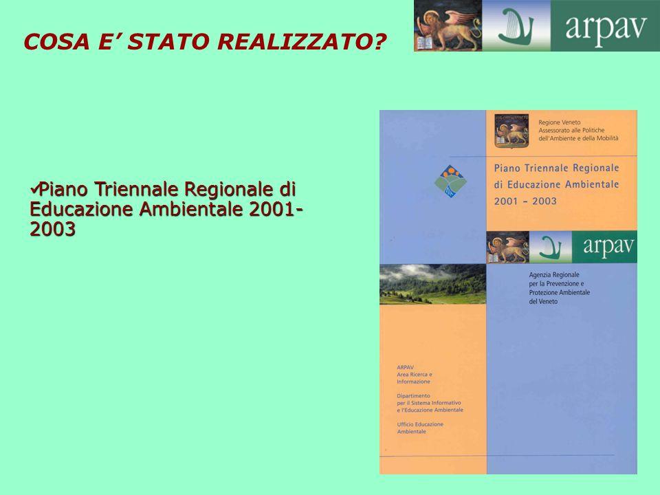 COSA E STATO REALIZZATO? Piano Triennale Regionale di Educazione Ambientale 2001- 2003 Piano Triennale Regionale di Educazione Ambientale 2001- 2003
