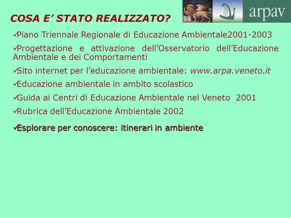COSA E STATO REALIZZATO? Piano Triennale Regionale di Educazione Ambientale2001-2003 Progettazione e attivazione dellOsservatorio dellEducazione Ambie