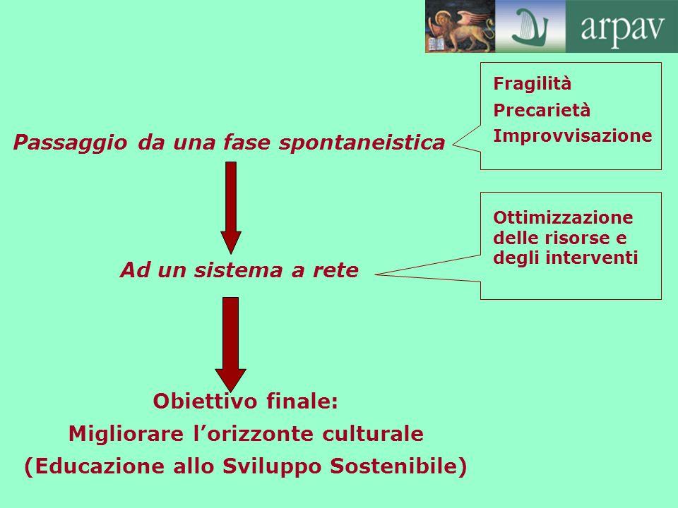 Passaggio da una fase spontaneistica Fragilità Precarietà Improvvisazione Ad un sistema a rete Ottimizzazione delle risorse e degli interventi Obietti