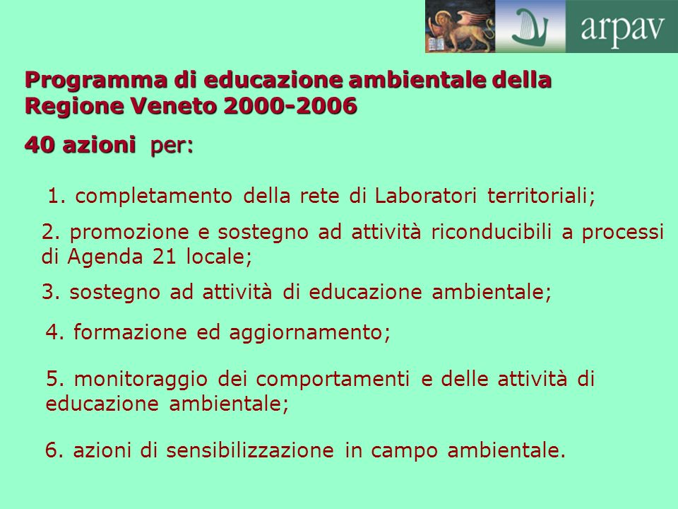 Programma di educazione ambientale della Regione Veneto 2000-2006 40 azioni per: 1. completamento della rete di Laboratori territoriali; 2. promozione