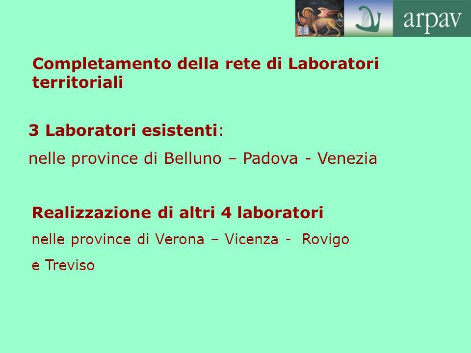 3 Laboratori esistenti: nelle province di Belluno – Padova - Venezia Realizzazione di altri 4 laboratori nelle province di Verona – Vicenza - Rovigo e