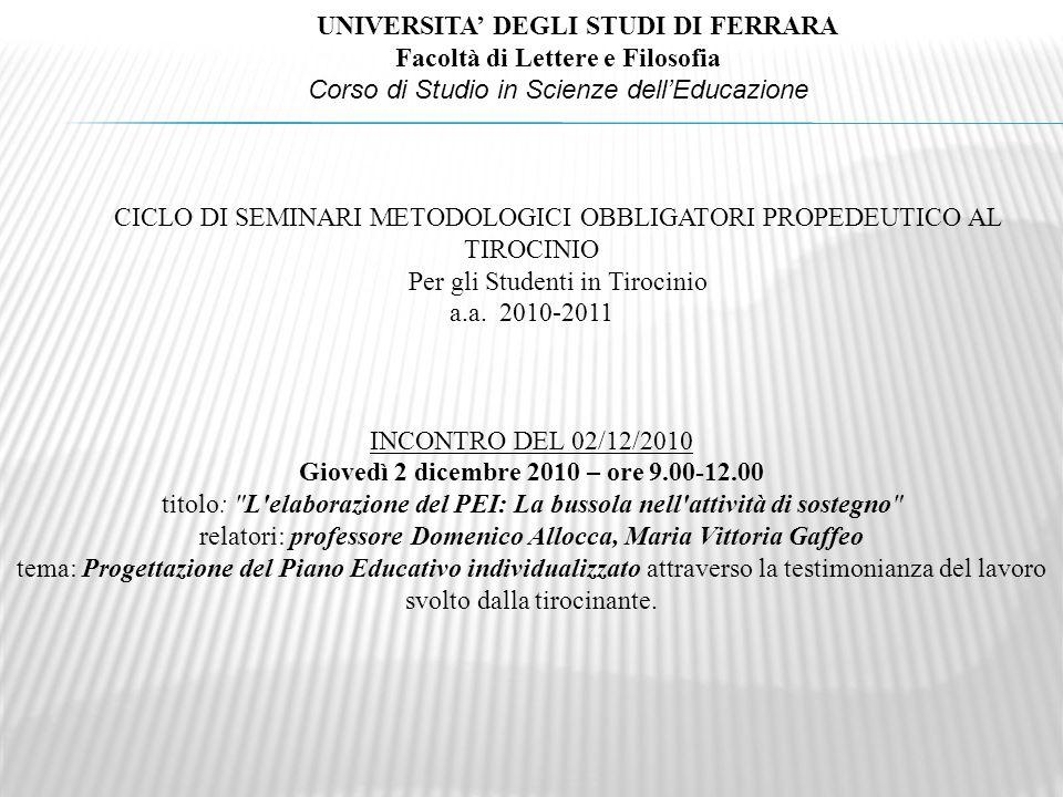 UNIVERSITA DEGLI STUDI DI FERRARA Facoltà di Lettere e Filosofia Corso di Studio in Scienze dellEducazione CICLO DI SEMINARI METODOLOGICI OBBLIGATORI PROPEDEUTICO AL TIROCINIO Per gli Studenti in Tirocinio a.a.