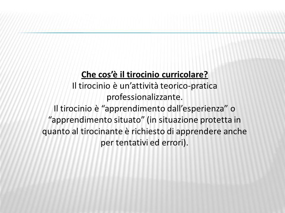 Che cosè il tirocinio curricolare.Il tirocinio è unattività teorico-pratica professionalizzante.