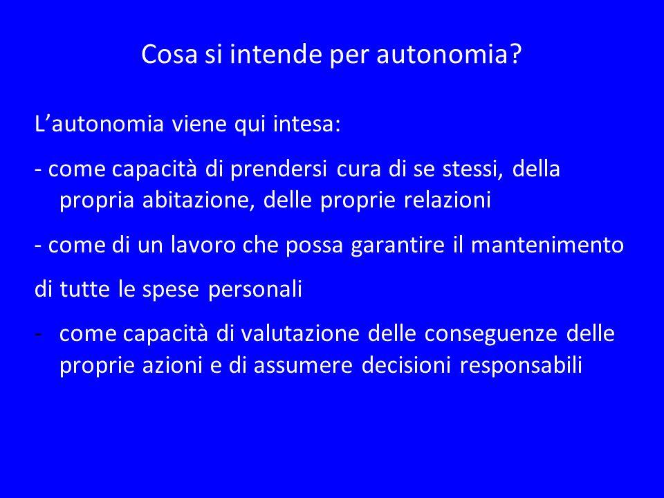 Cosa si intende per autonomia? Lautonomia viene qui intesa: - come capacità di prendersi cura di se stessi, della propria abitazione, delle proprie re