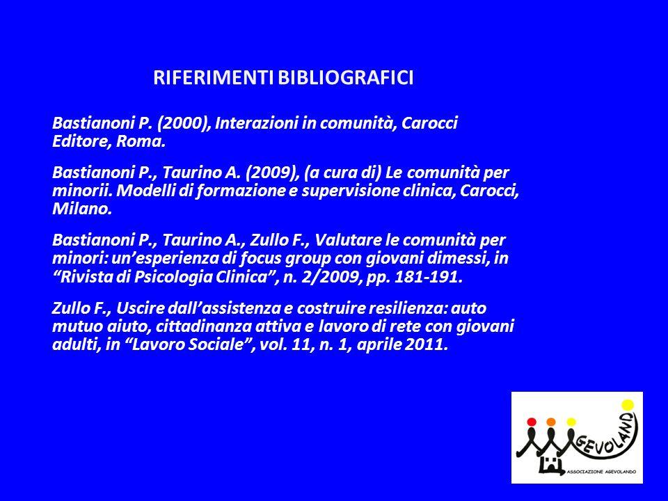 RIFERIMENTI BIBLIOGRAFICI Bastianoni P. (2000), Interazioni in comunità, Carocci Editore, Roma. Bastianoni P., Taurino A. (2009), (a cura di) Le comun