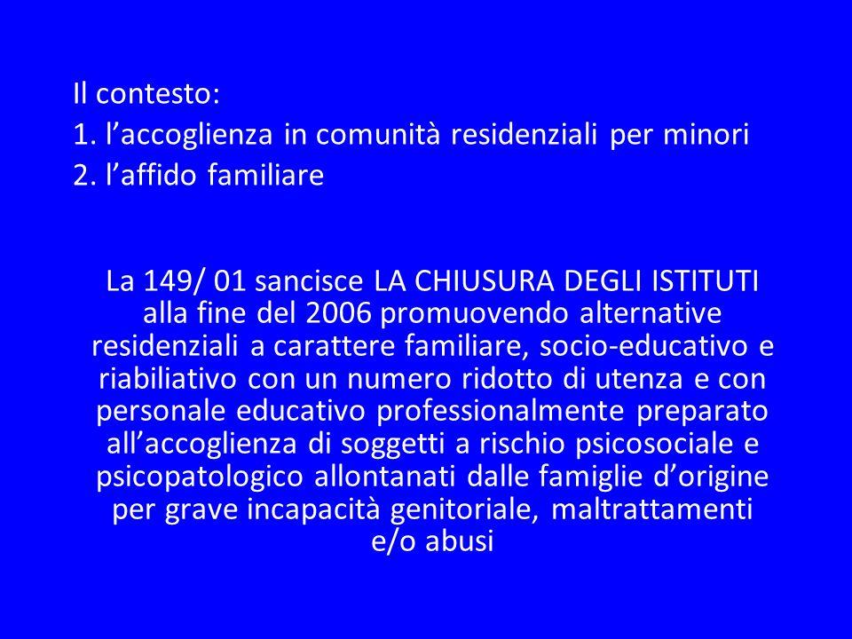 Il contesto: 1. laccoglienza in comunità residenziali per minori 2. laffido familiare La 149/ 01 sancisce LA CHIUSURA DEGLI ISTITUTI alla fine del 200