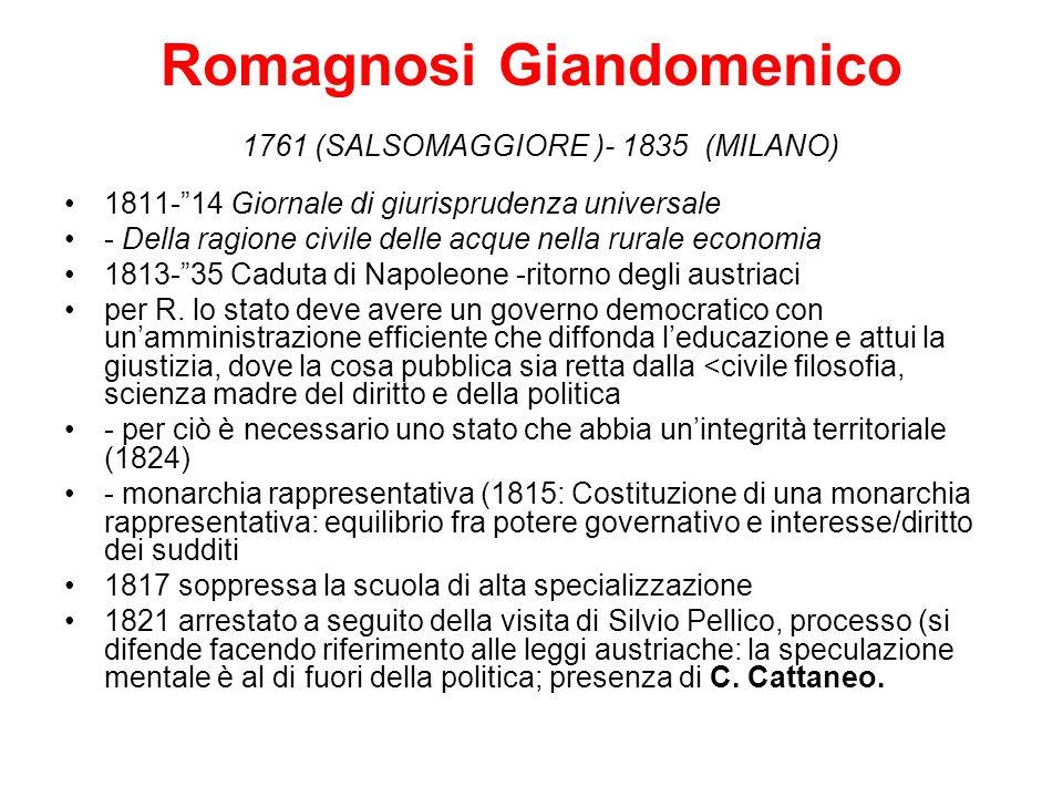 Romagnosi Giandomenico 1761 (SALSOMAGGIORE )- 1835 (MILANO) 1811-14 Giornale di giurisprudenza universale - Della ragione civile delle acque nella rur