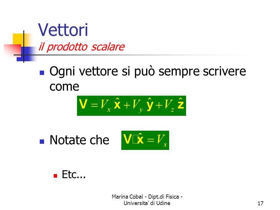 Marina Cobal - Dipt.di Fisica - Universita' di Udine17 Vettori il prodotto scalare Ogni vettore si può sempre scrivere come Notate che Etc...