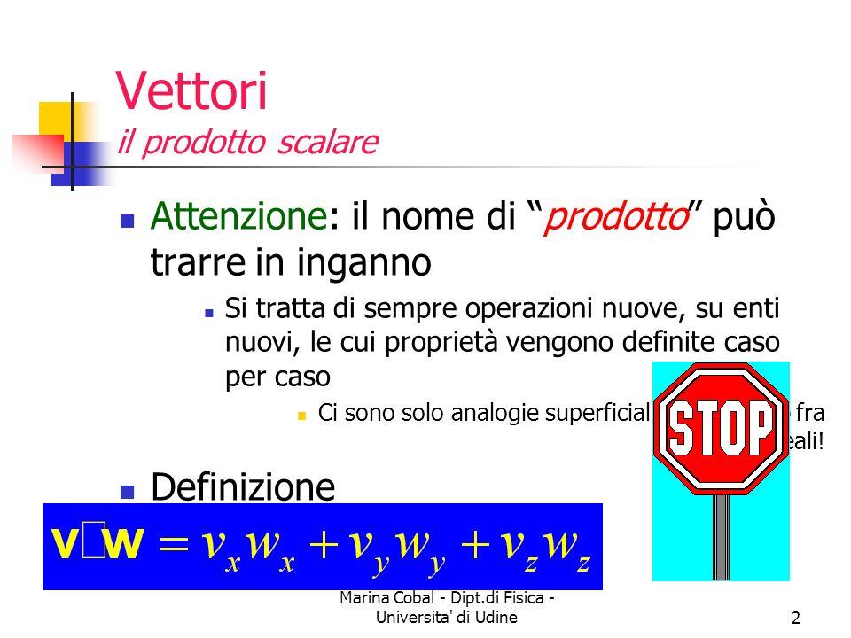 Marina Cobal - Dipt.di Fisica - Universita' di Udine2 Vettori il prodotto scalare Attenzione: il nome di prodotto può trarre in inganno Si tratta di s