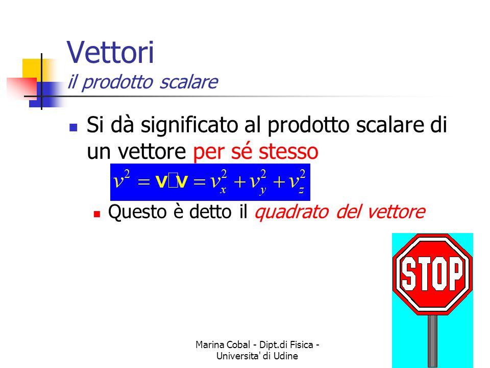 Marina Cobal - Dipt.di Fisica - Universita' di Udine5 Vettori il prodotto scalare Si dà significato al prodotto scalare di un vettore per sé stesso Qu