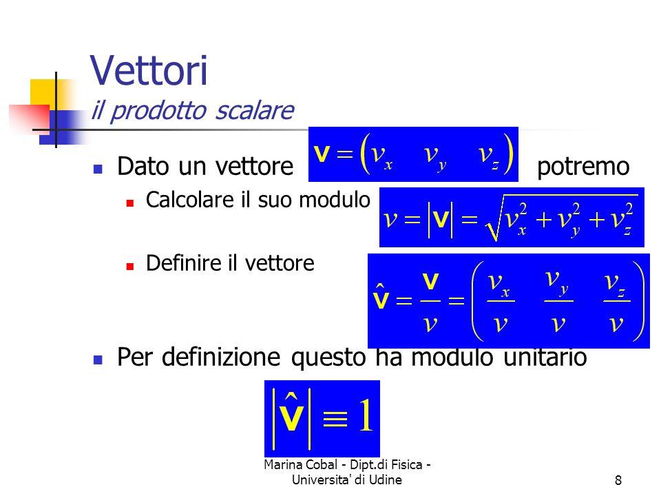 Marina Cobal - Dipt.di Fisica - Universita' di Udine8 Vettori il prodotto scalare Dato un vettore potremo Calcolare il suo modulo Definire il vettore