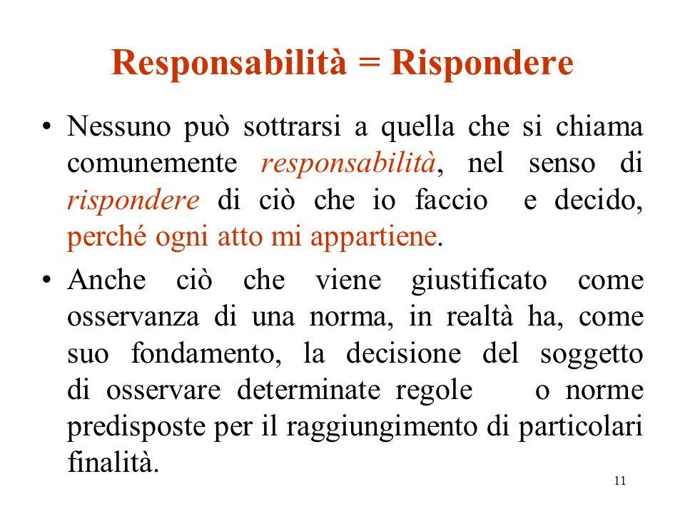 11 Responsabilità = Rispondere Nessuno può sottrarsi a quella che si chiama comunemente responsabilità, nel senso di rispondere di ciò che io faccio e decido, perché ogni atto mi appartiene.