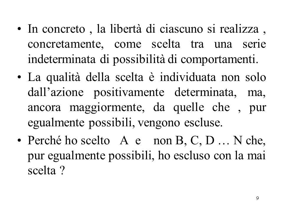 9 In concreto, la libertà di ciascuno si realizza, concretamente, come scelta tra una serie indeterminata di possibilità di comportamenti.