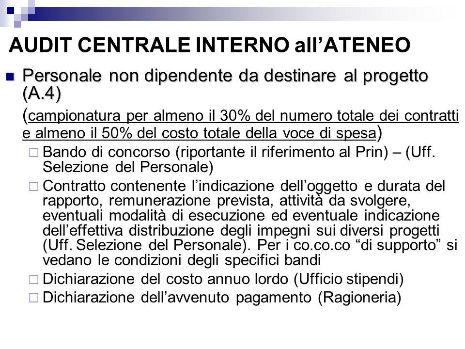 AUDIT CENTRALE INTERNO allATENEO Personale non dipendente da destinare al progetto (A.4) Personale non dipendente da destinare al progetto (A.4) ( cam
