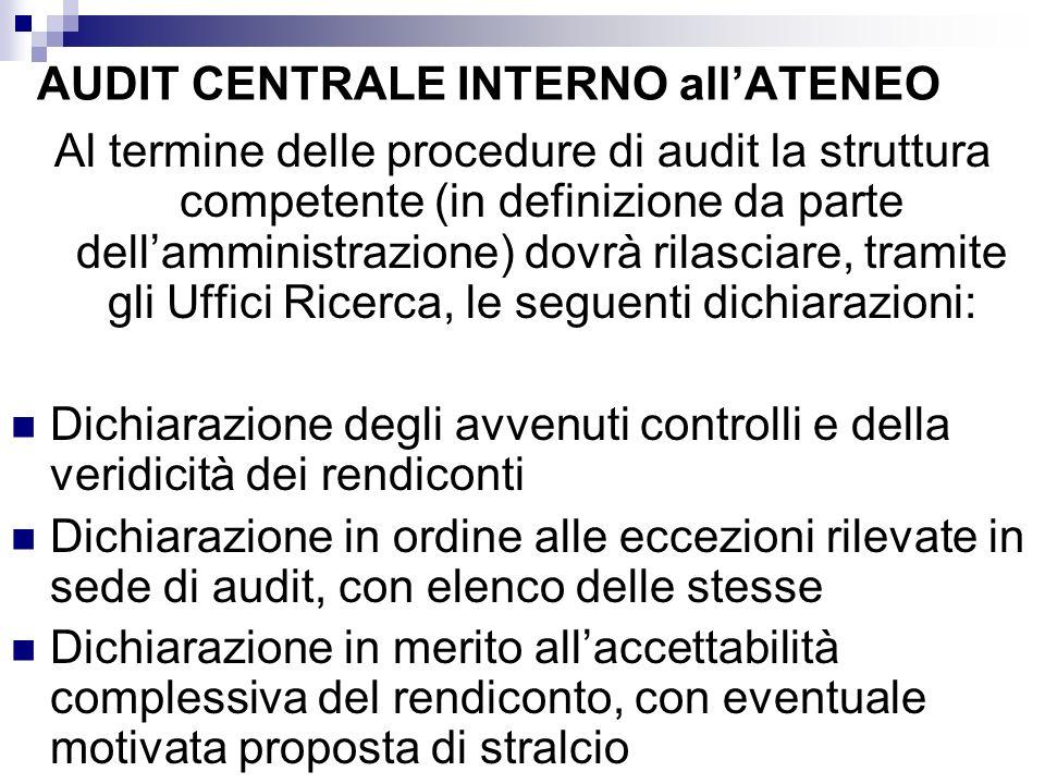 AUDIT CENTRALE INTERNO allATENEO Al termine delle procedure di audit la struttura competente (in definizione da parte dellamministrazione) dovrà rilas