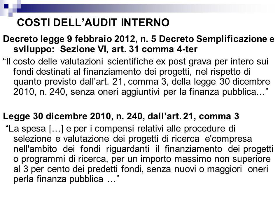 COSTI DELLAUDIT INTERNO Decreto legge 9 febbraio 2012, n. 5 Decreto Semplificazione e sviluppo: Sezione VI, art. 31 comma 4-ter Il costo delle valutaz